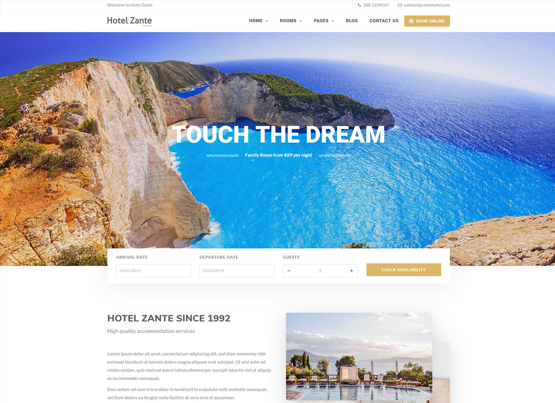 Hotel Zante | Hotel Booking WordPress Theme