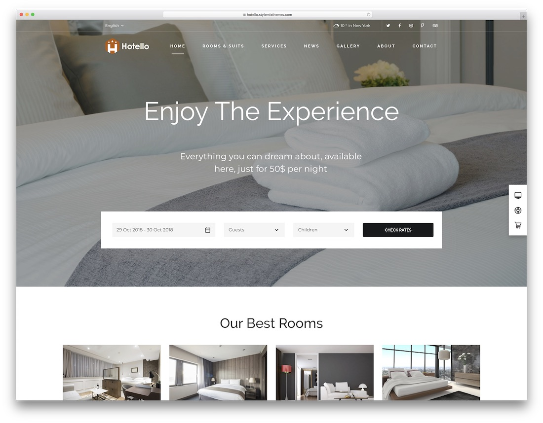 hotello best hotel wordpress theme with incredible design
