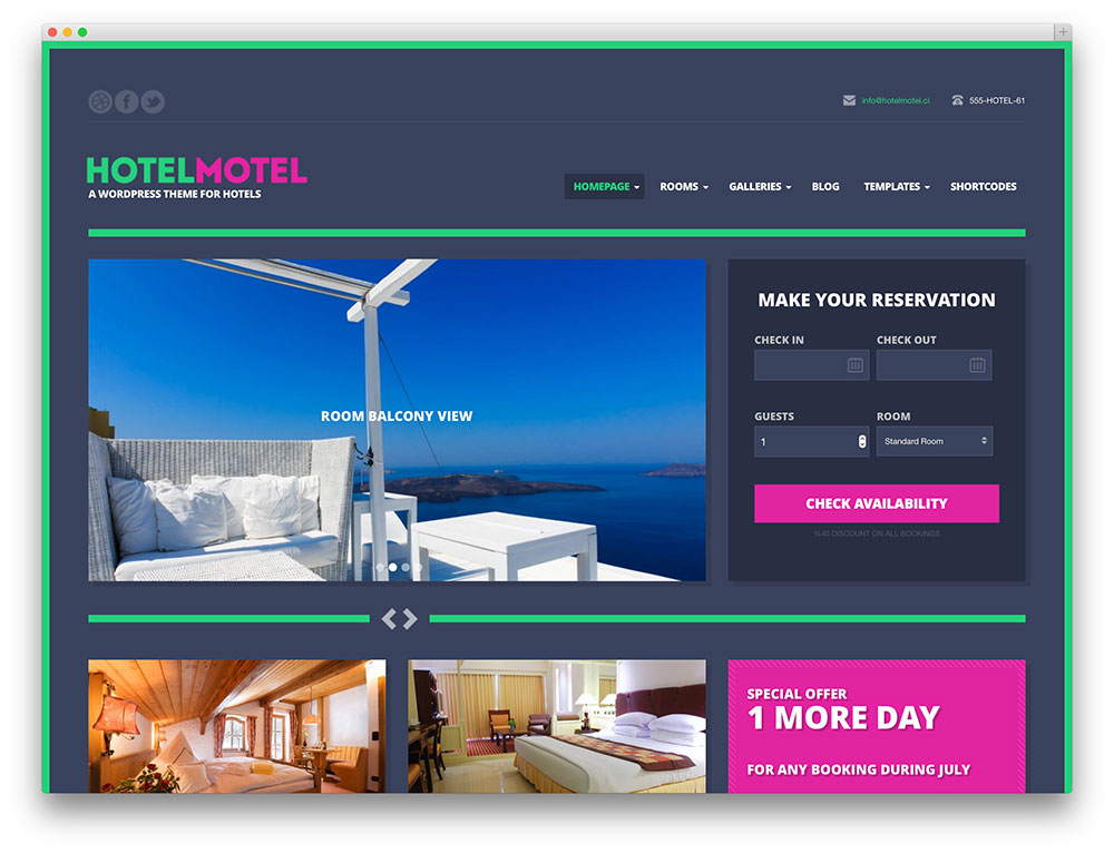 hotelmotel - resort booking theme