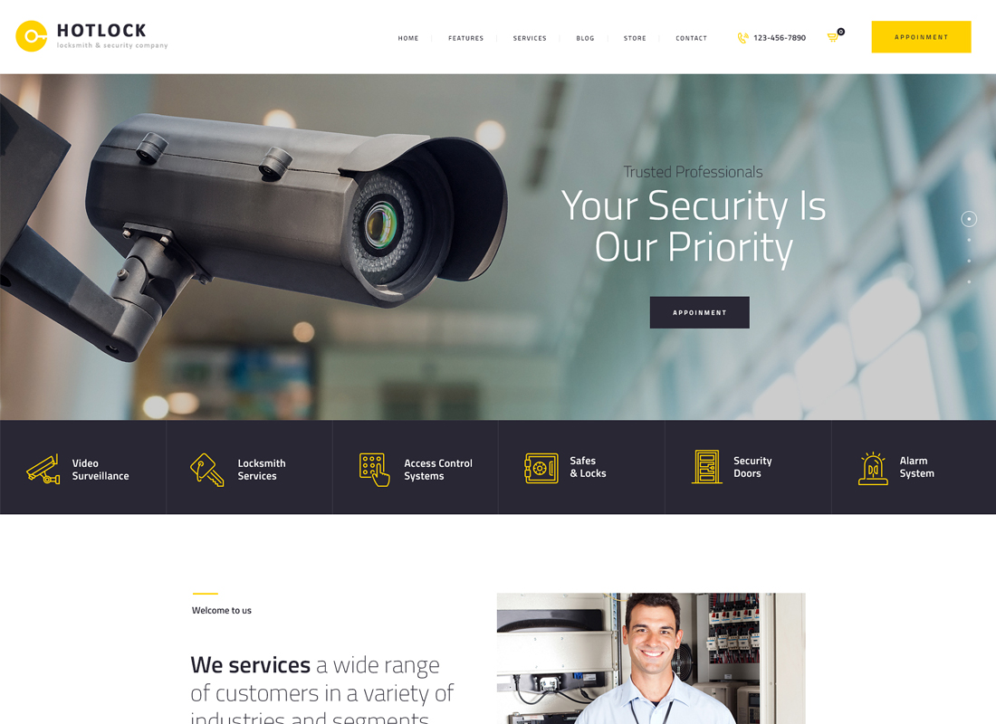 HotLock - Locksmith & Security Systems WordPress Theme