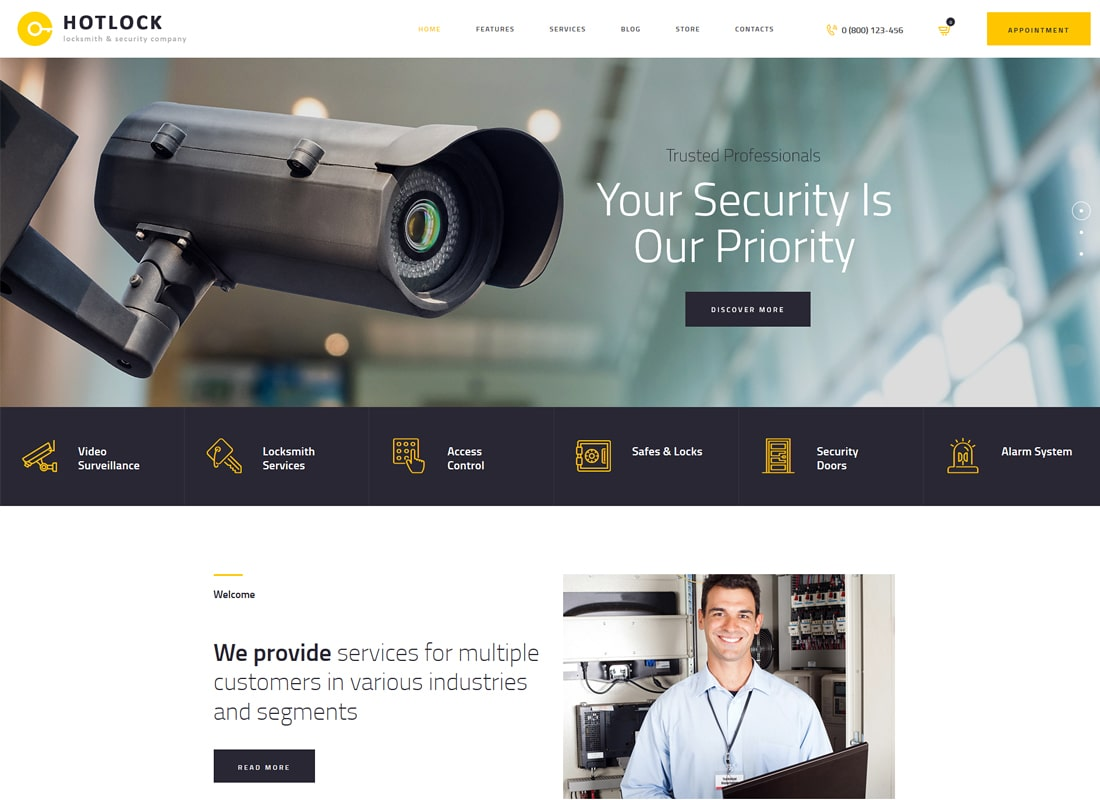 HotLock | Locksmith & Security Systems WordPress Theme