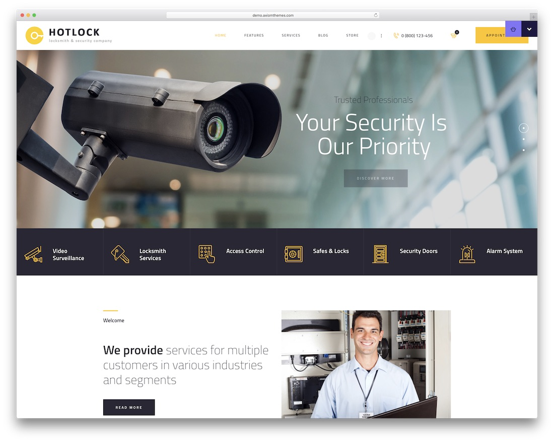 hotlock security service wordpress theme