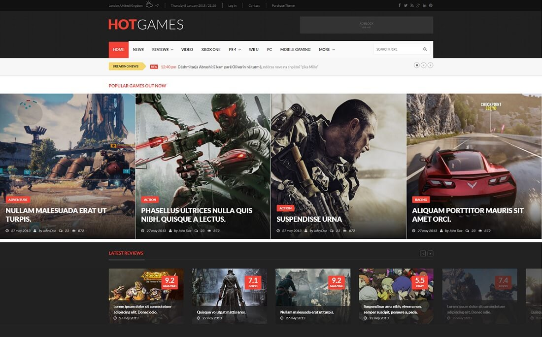 hotmagazine gaming HTML website template