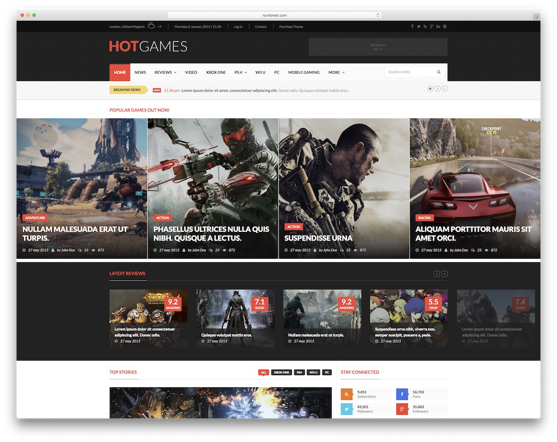 hotmagazine gaming website template