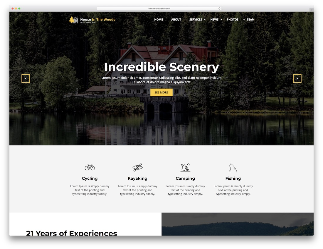 house in the wood bootstrap website template