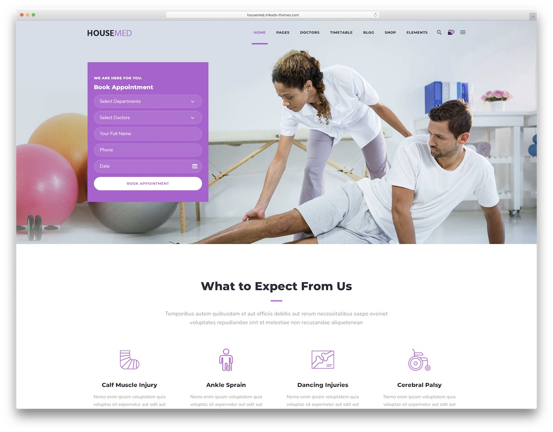 housemed physiotherapy chiropractor wordpress theme