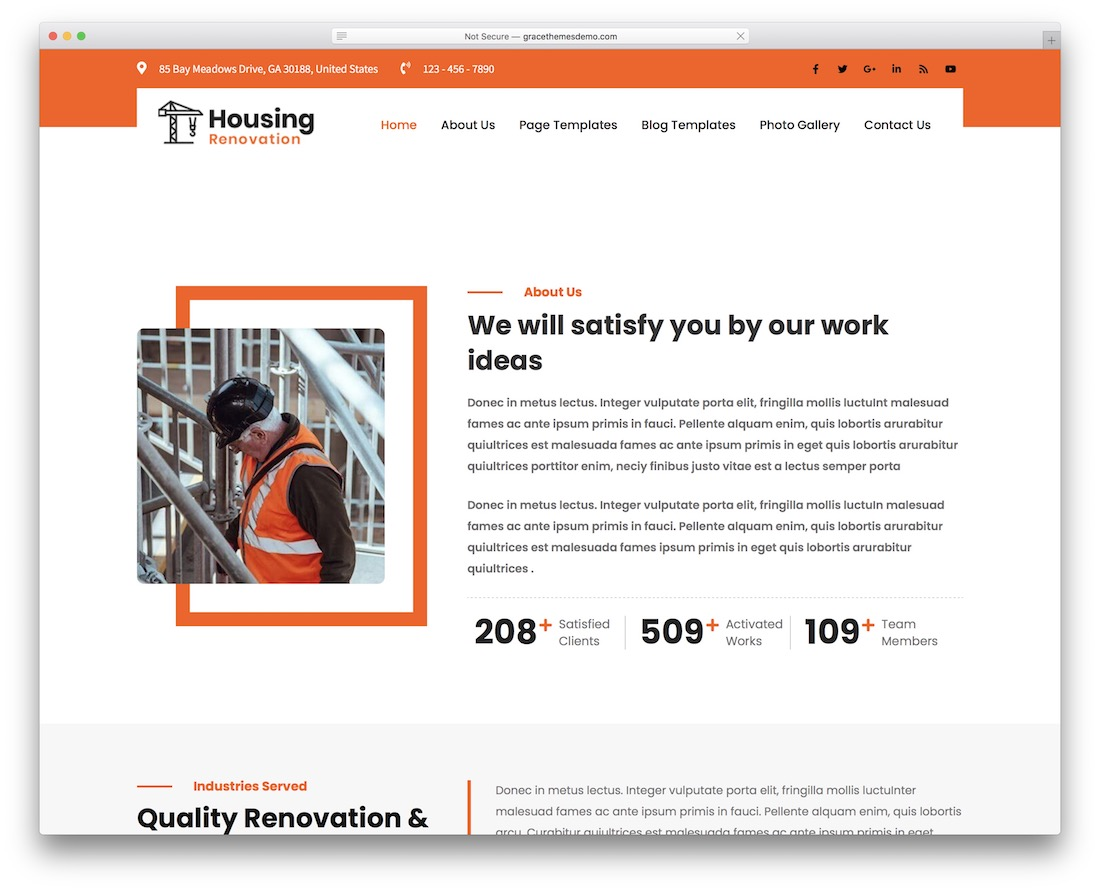 housing lite free wordpress business theme