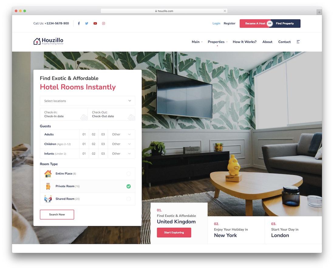 houzillo vacation rental wordpress theme