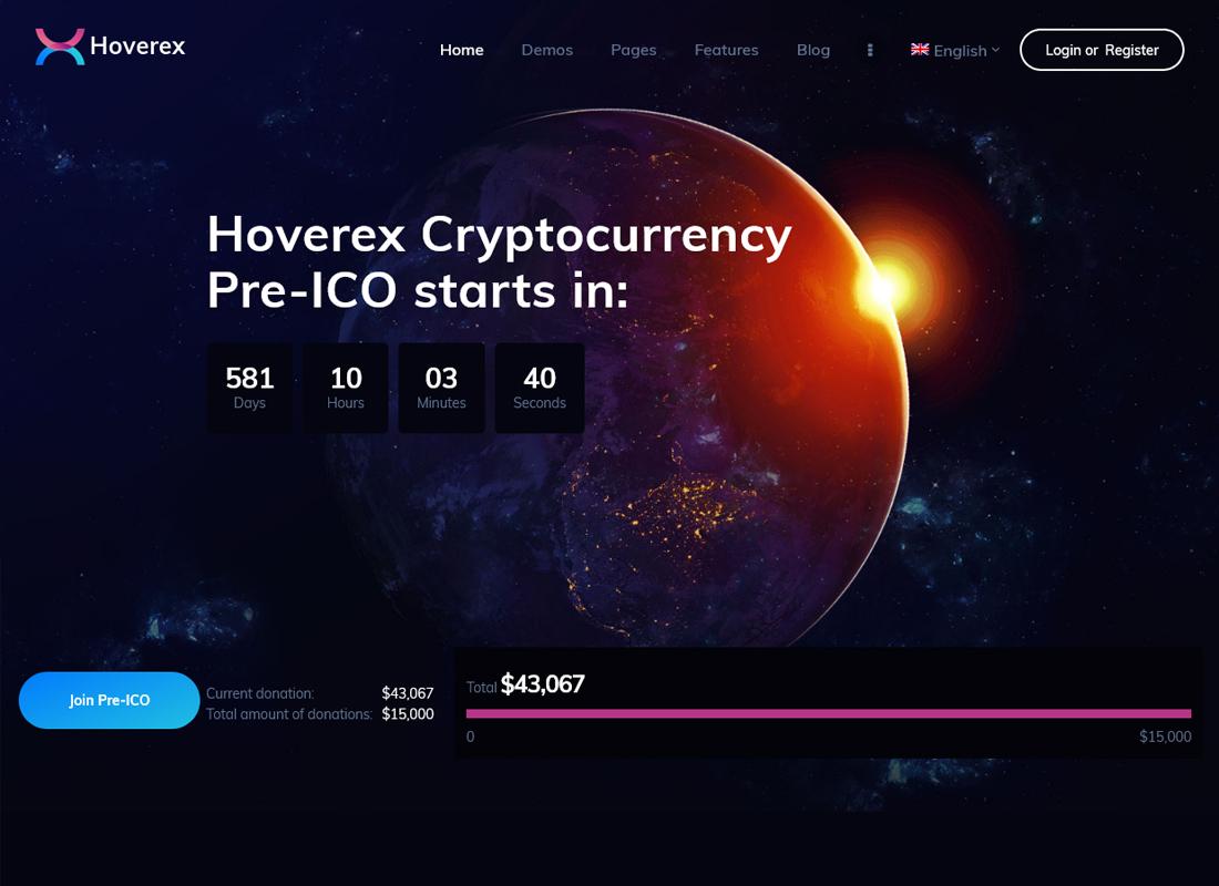 Hoverex   Cryptocurrency & ICO WordPress Theme + Spanish