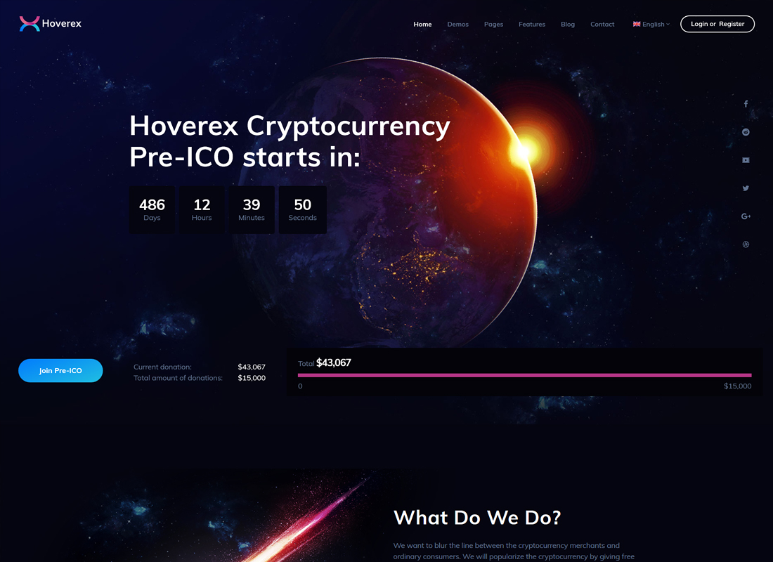Hoverex - Cryptocurrency & ICO WordPress Theme + Spanish