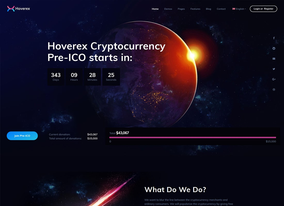 Hoverex | Cryptocurrency & ICO WordPress Theme + Spanish