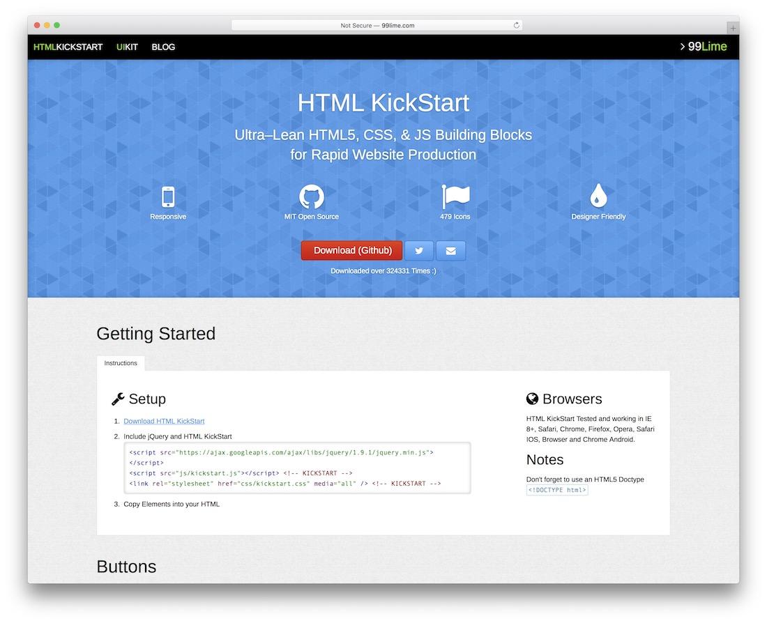 html kickstart html5 framework