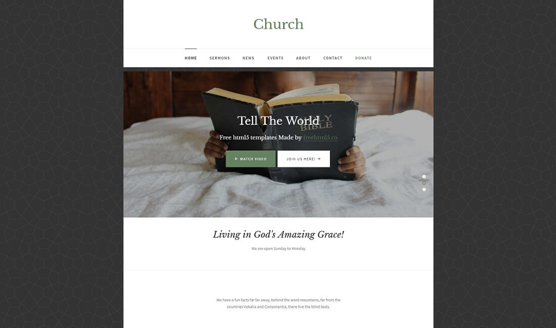 html5 free church website template