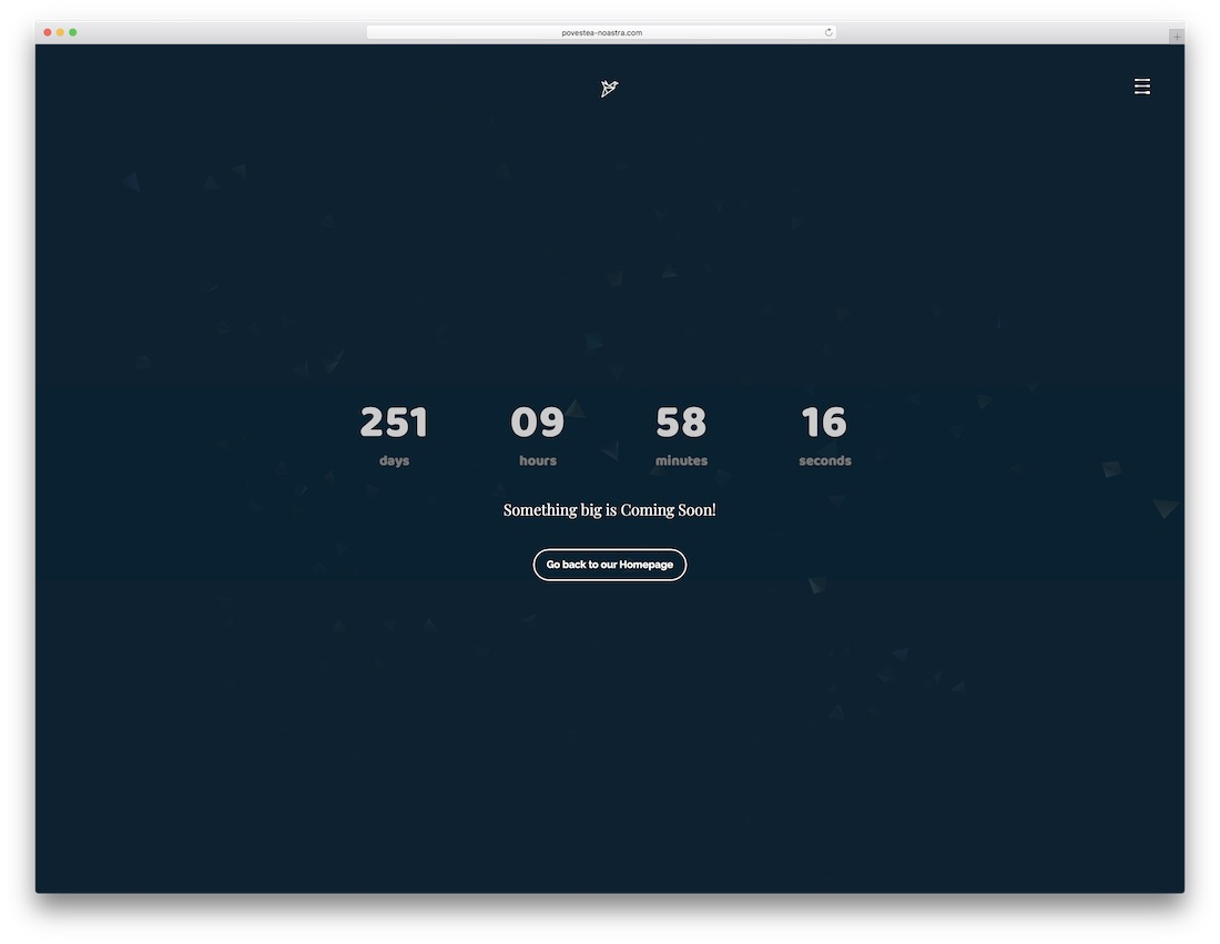 huge coming soon website template
