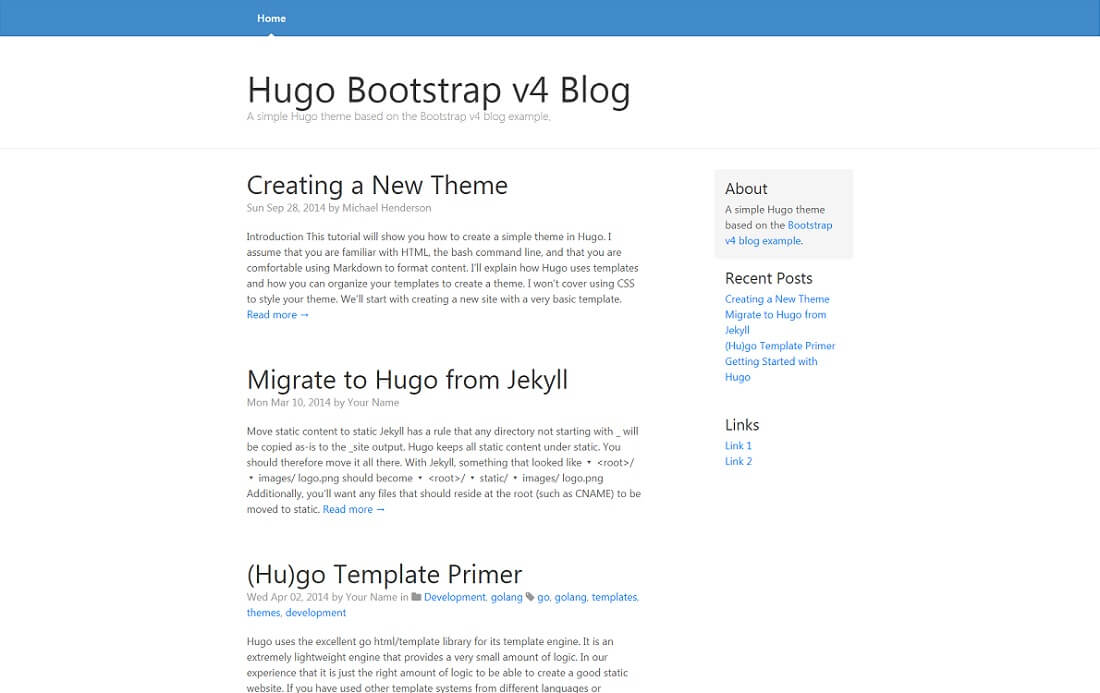 hugo blog free bootstrap 4 website template