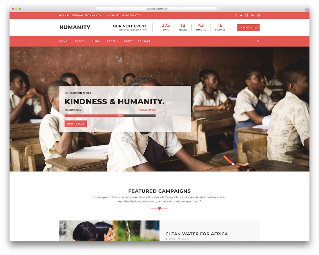 humanity html charity website template