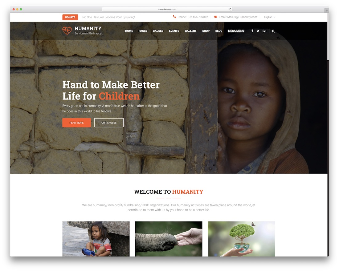 humanity responsive html charity website template