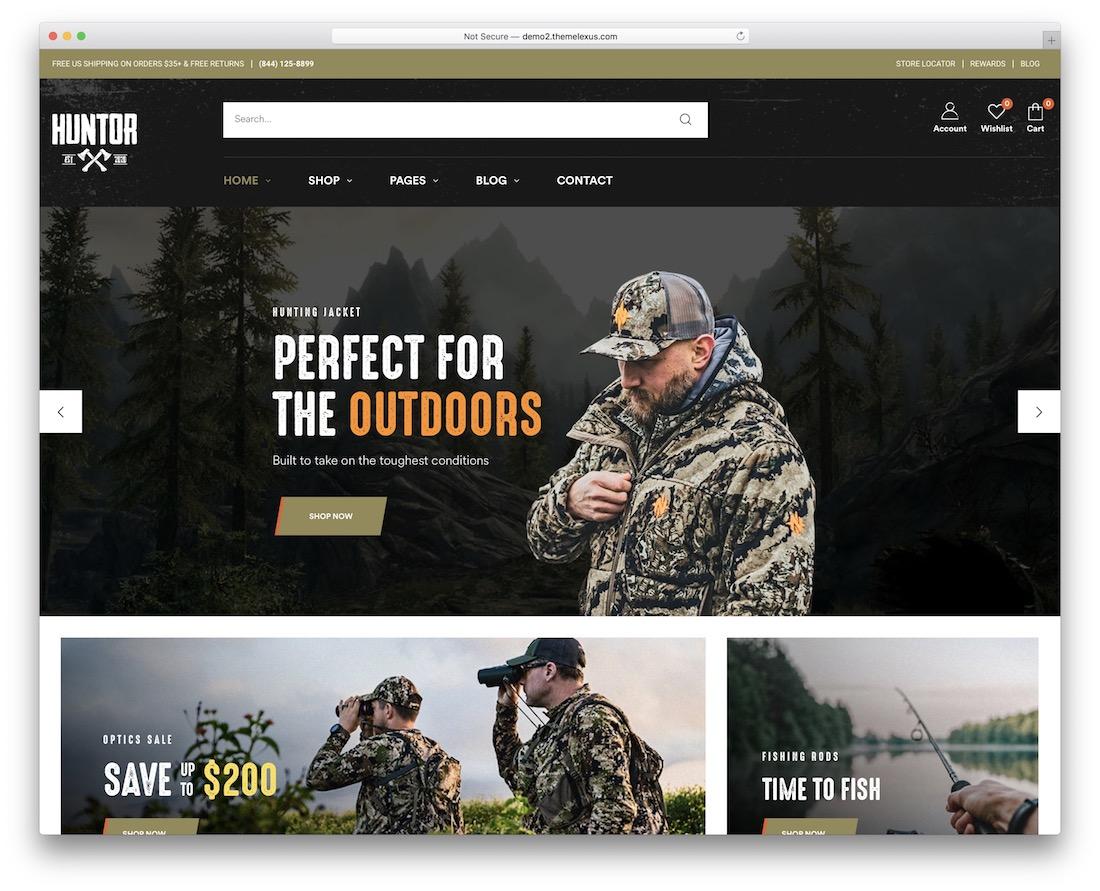 huntor hunting wordpress theme