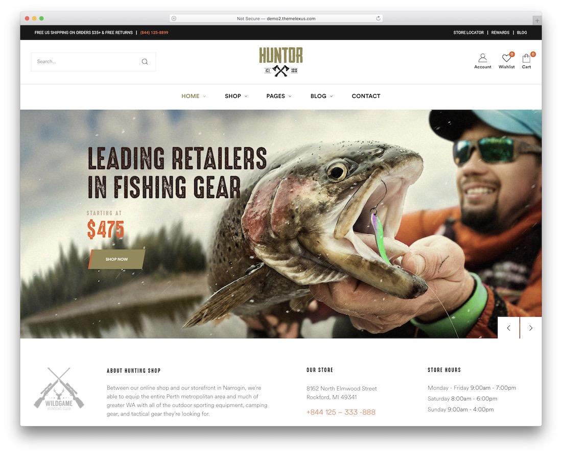 huntor wordpress fishing theme