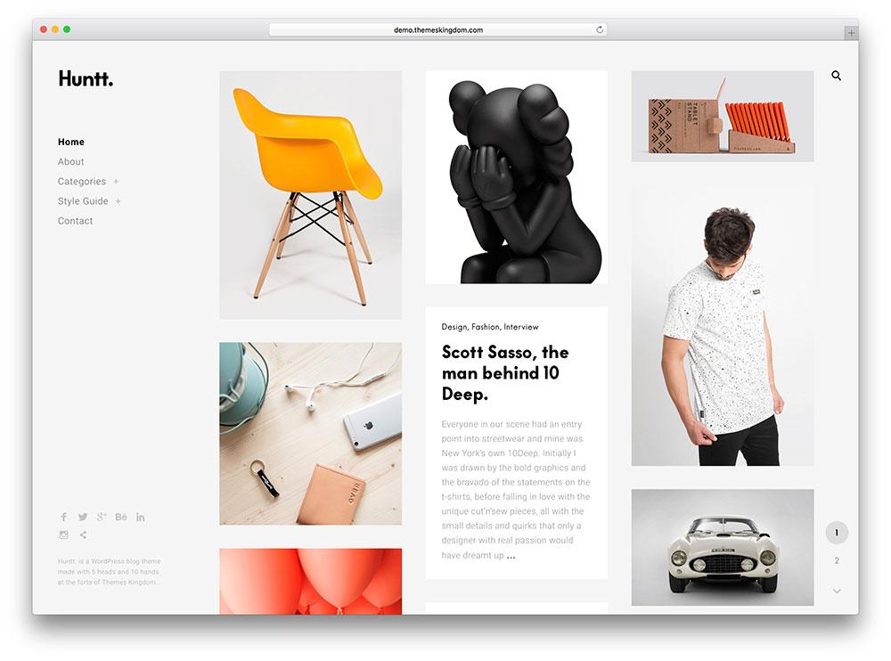 huntt - masonry style portfolio theme