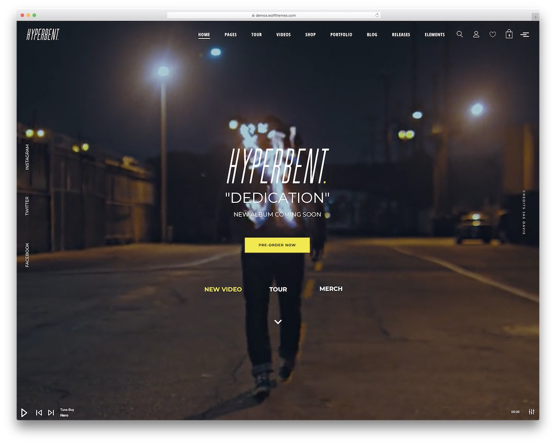 hyperbent music wordpress theme