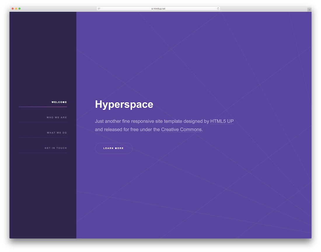 하이퍼 스페이스 웹 사이트 템플릿