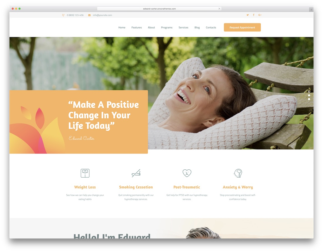 hypnotherapy physiotherapy chiropractor wordpress theme