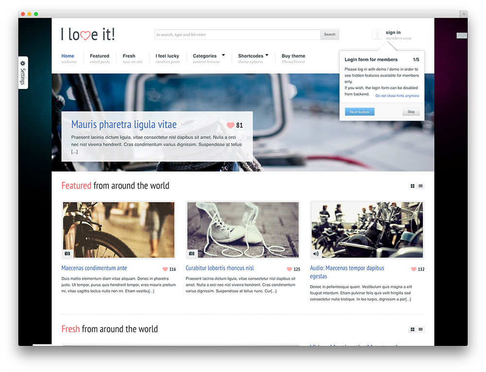 i love it - content sharing theme