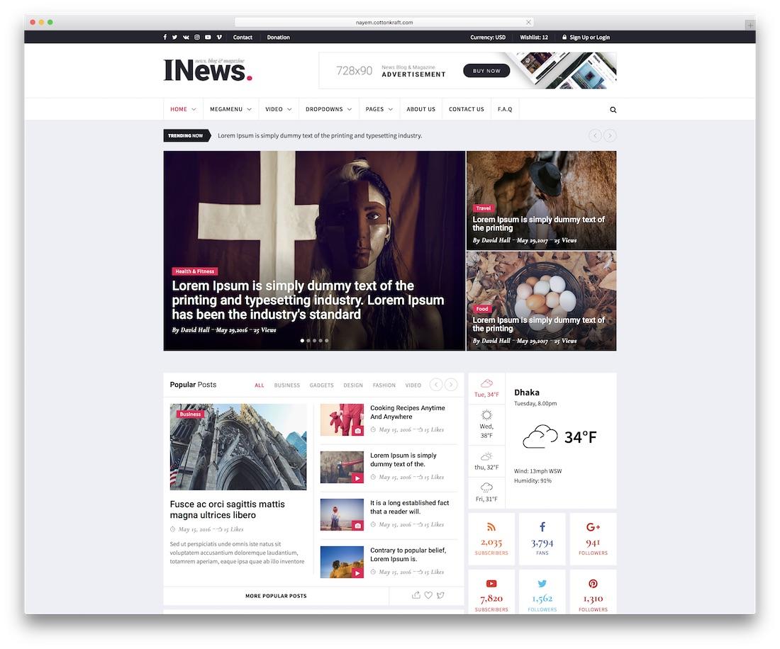 i-news blog website template