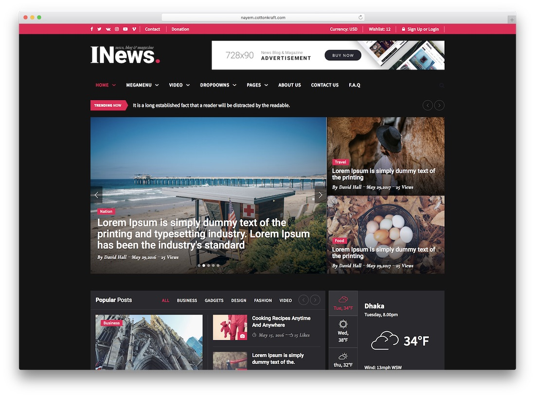 i-news travel website template