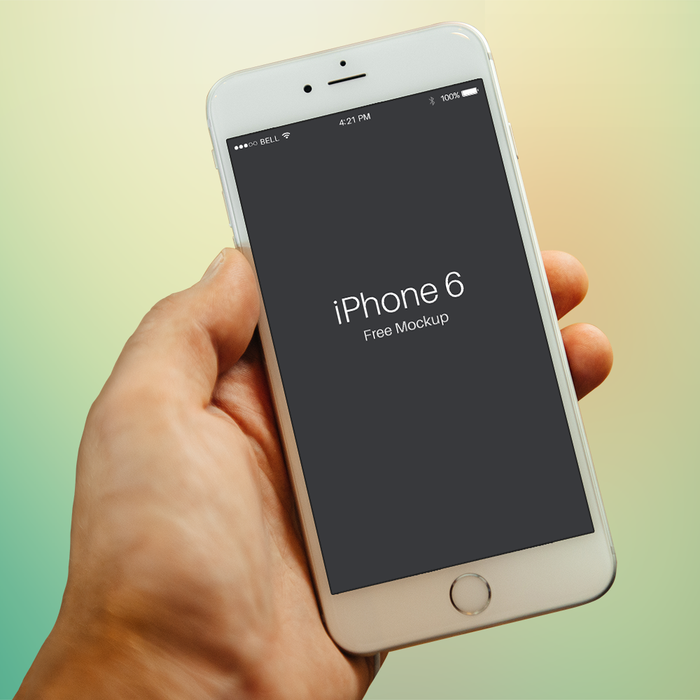 Free PSD iPhone 6 Mockup Template Colseup In Hand