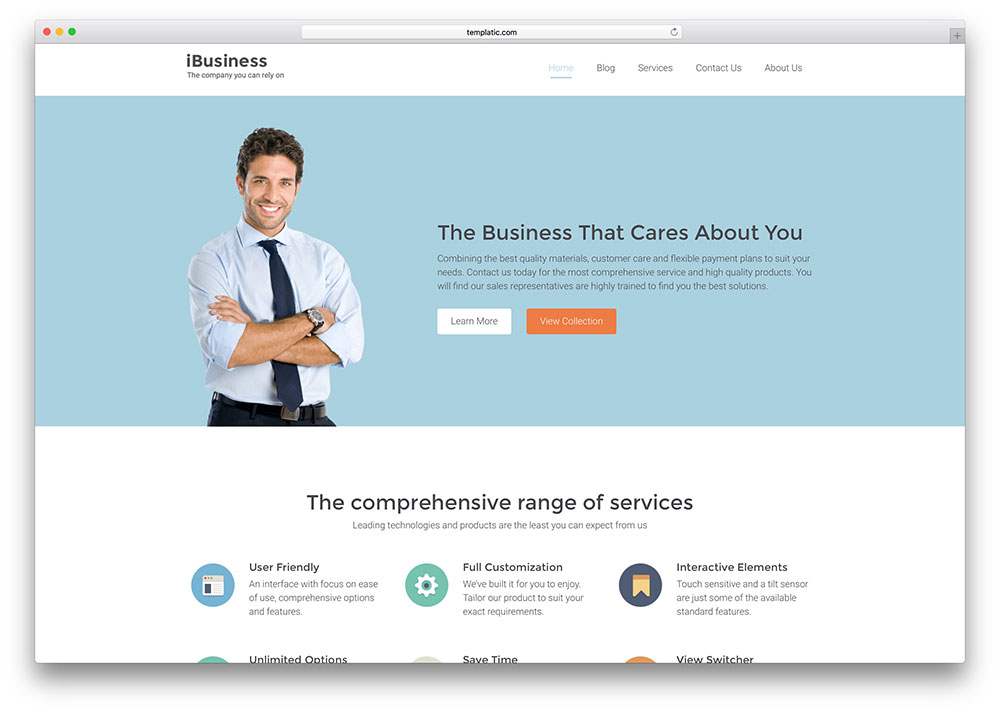 ibusiness simple corporate wordpress template