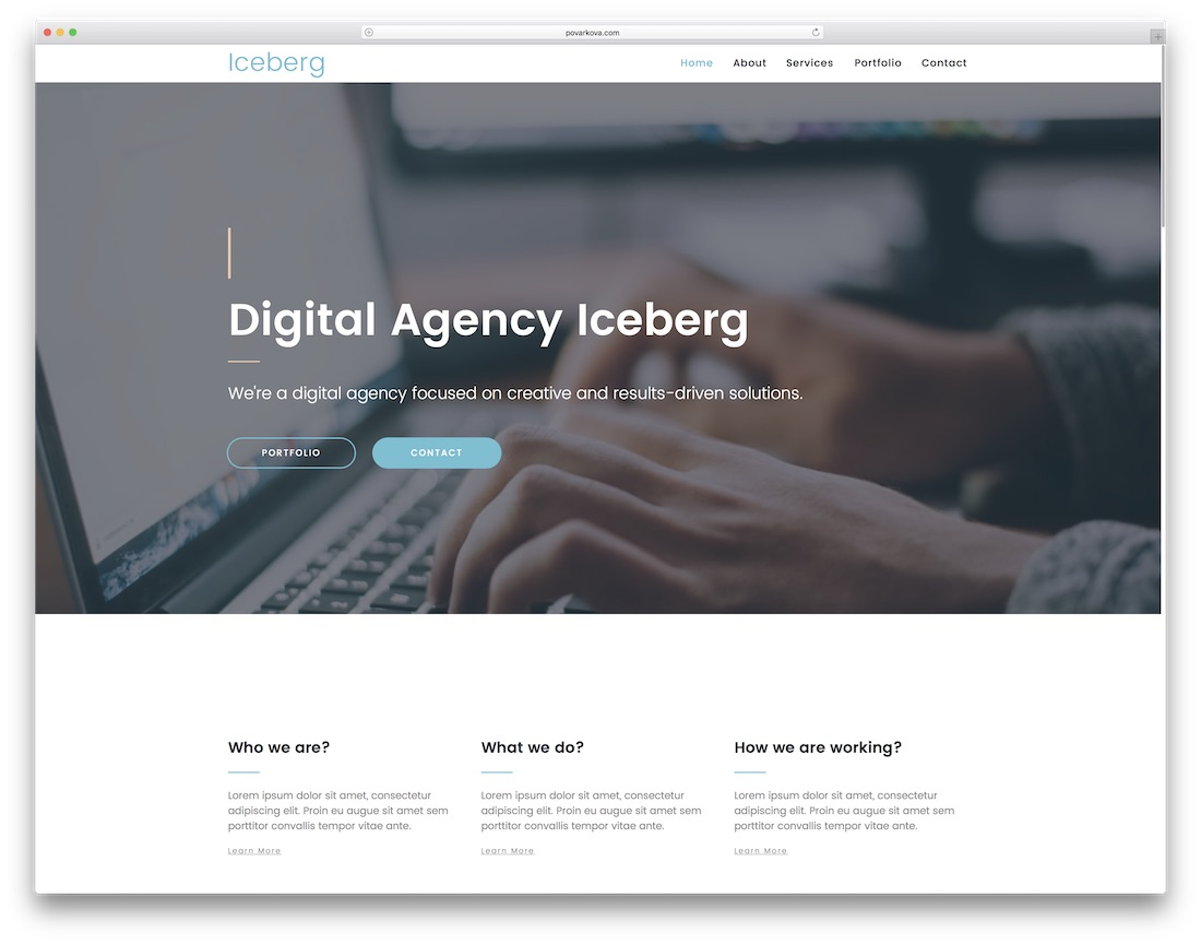 iceberg clean adobe muse template