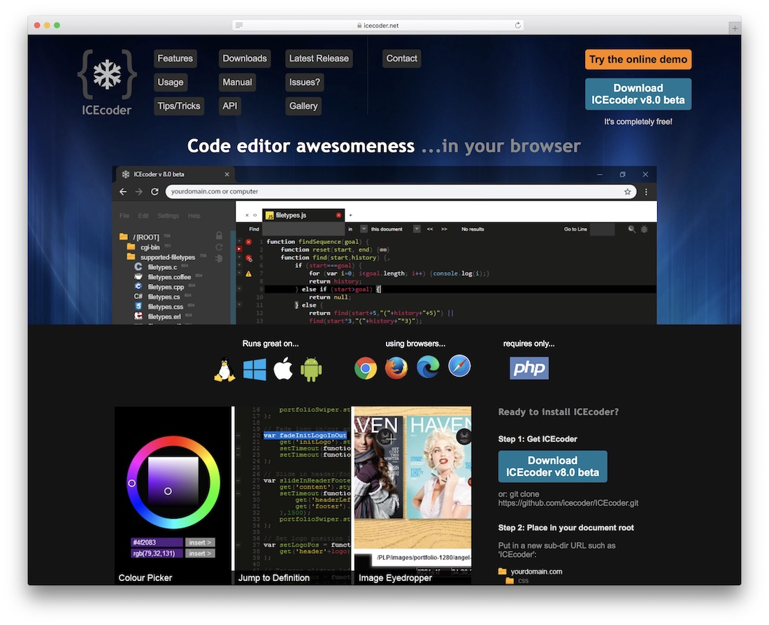 icecoder code editor for web designers
