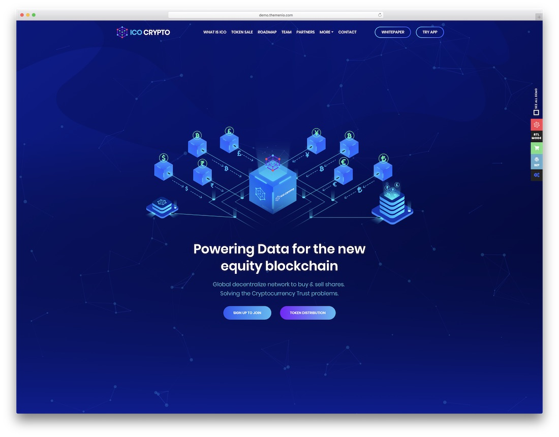 ico crypto technology website template