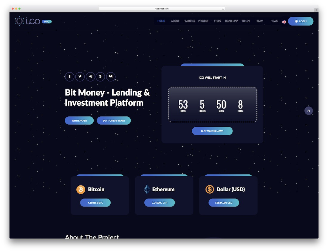 ico pro adobe muse landing page template