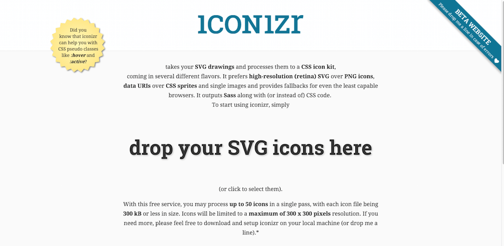 iconizr · CSS Sass icon kit creator · SVG PNG sprite generator
