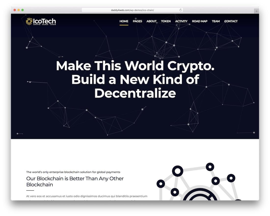 icotech cryptocurrency wordpress theme