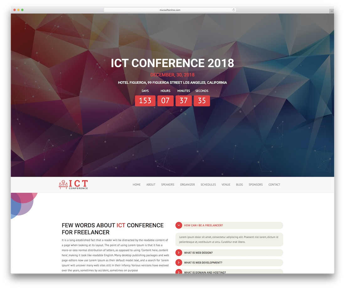 ict event website template