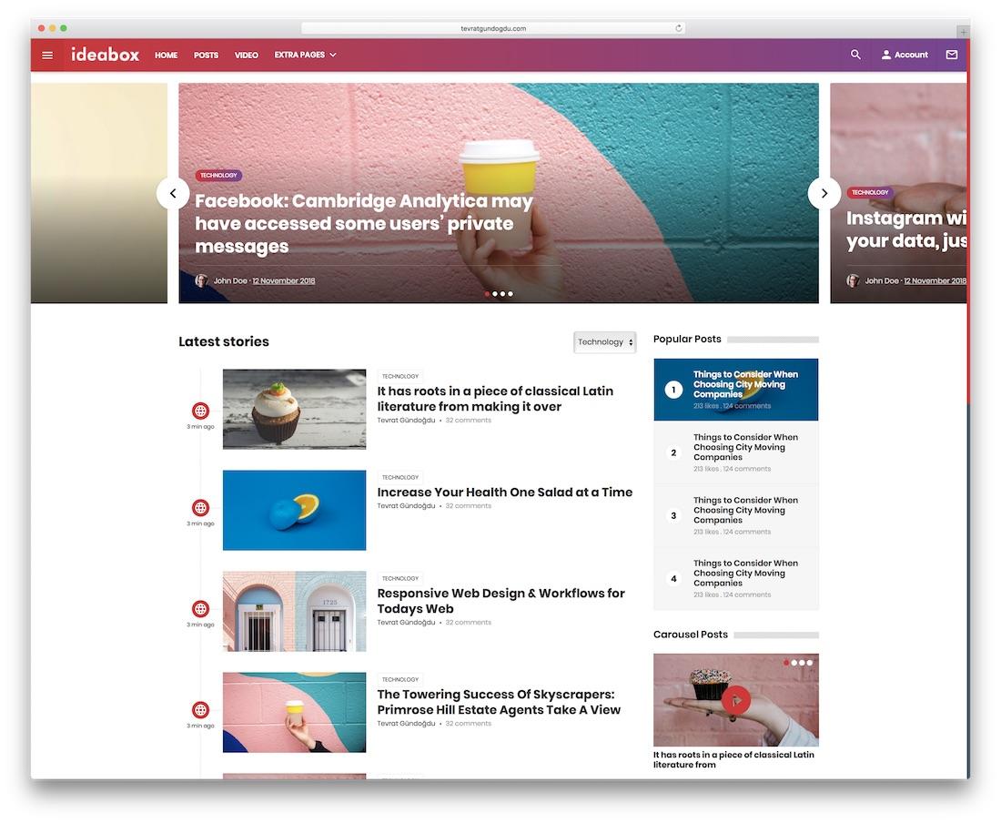 ideabox news website template