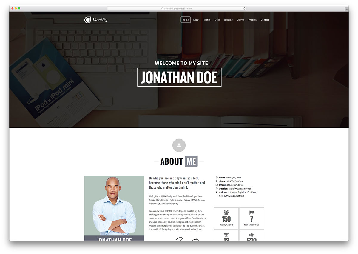 best vcard wordpress themes for your online resume colorlib identity classic vcard website template