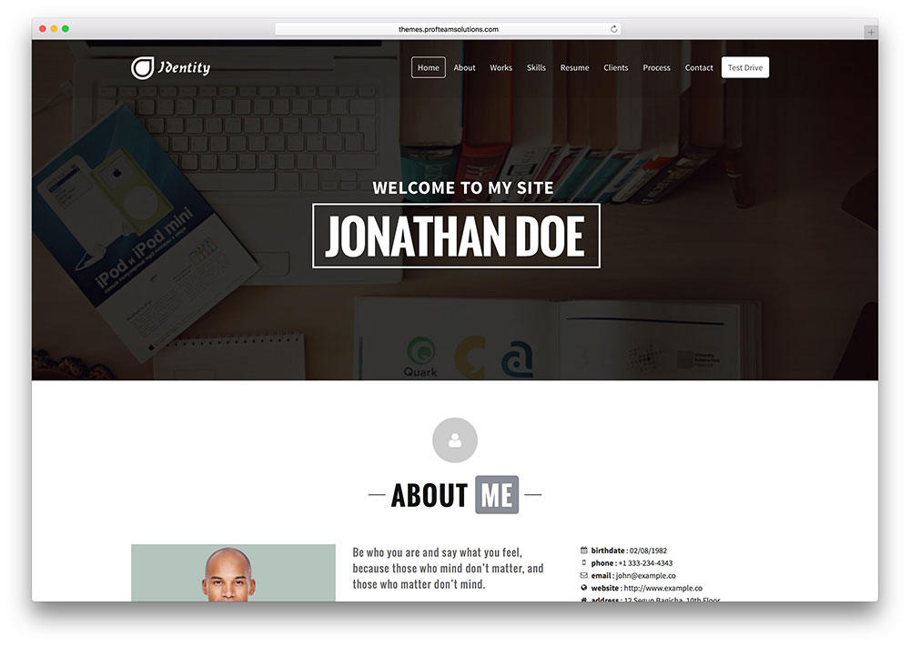 identity-vcard-theme-with-slider