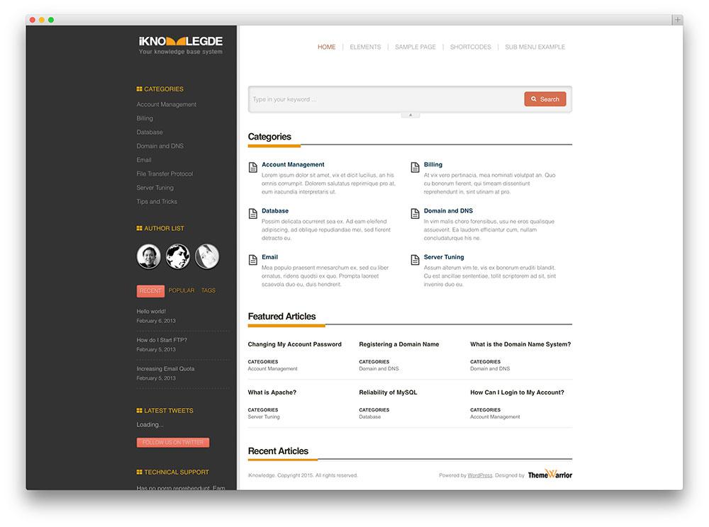 iknowledge - wiki wordpress theme