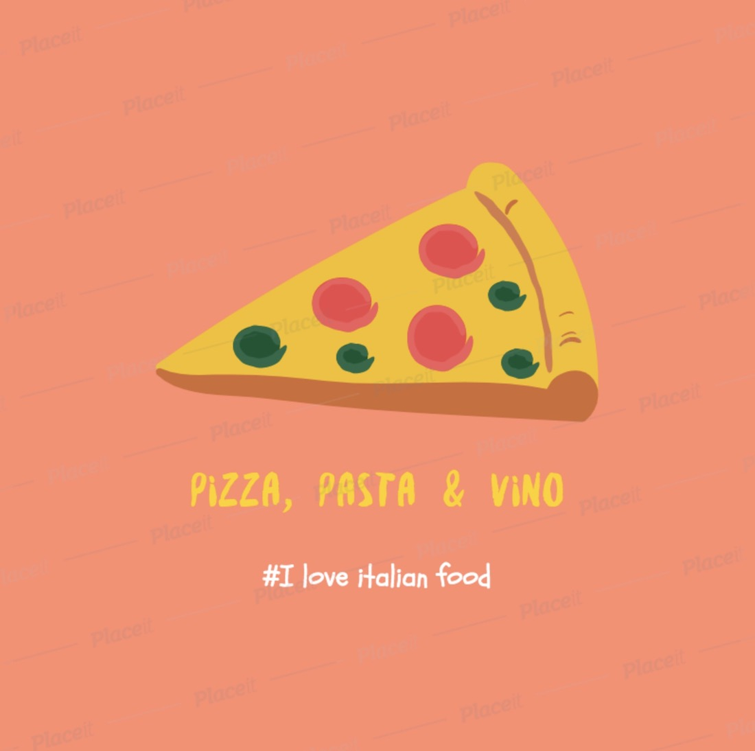 illustrated instagram post template featuring italian food