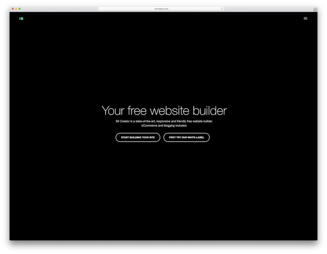 im creator free website builder and hosting