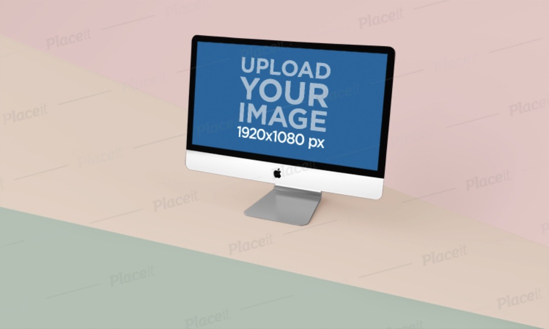 imac mockup on a three different colors surface