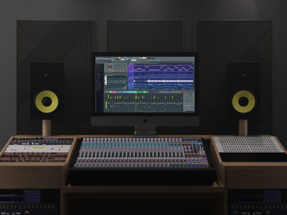 imac pro plus sound studio mockup
