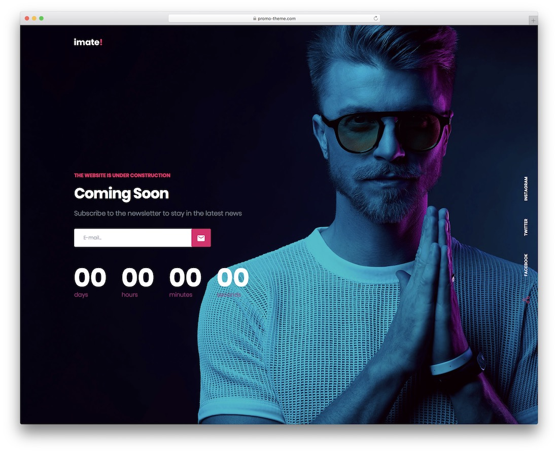 imate coming soon wordpress theme