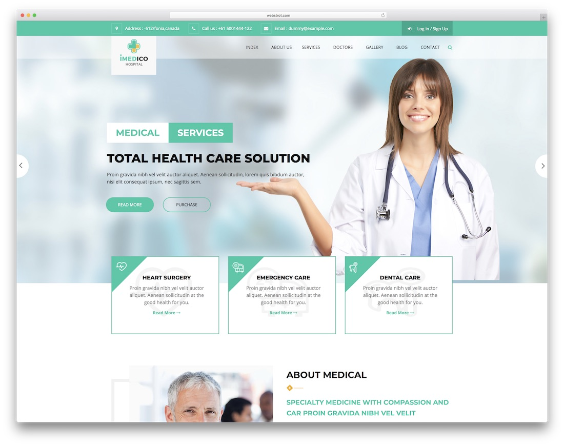imedico doctor website template