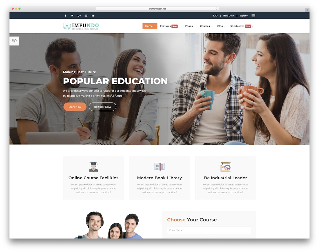 imfundo simple bootstrap template